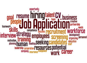 Job Application, word cloud concept on white background
