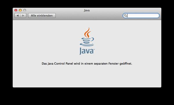 Java wird in einem separaten Fenster geladen