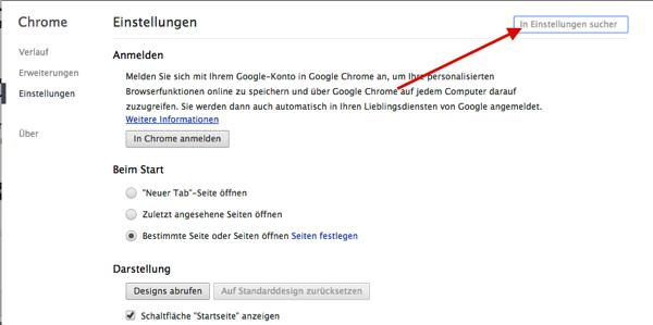 Chrome EInstellungen Suche