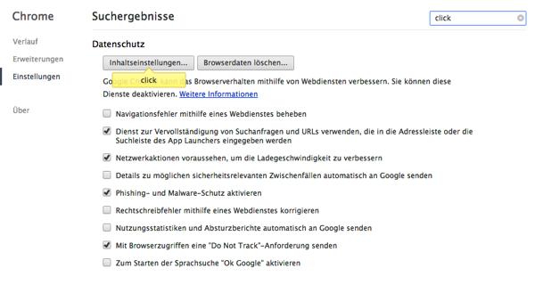 Chrome Click Inhaltseinstellungen