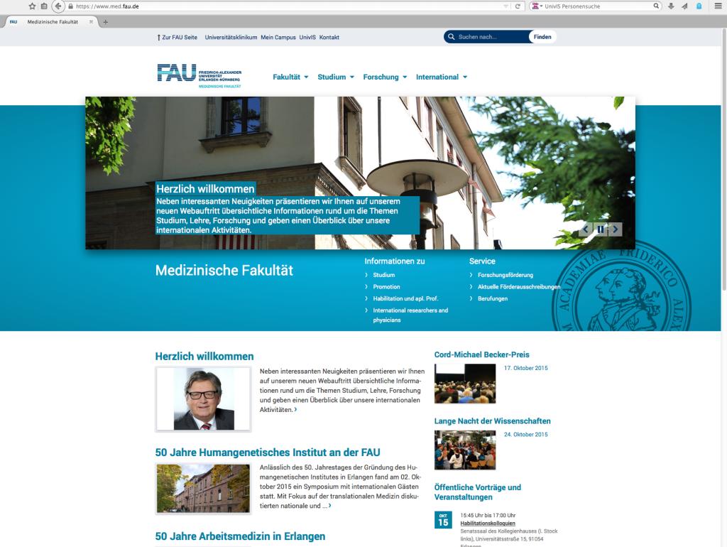 Screenshot med.fau.de (15.10.2015)